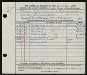 Entry card for Cunningham, Mary Phillips for the 1953 May Show.