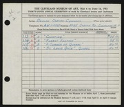 Entry card for Cykowski, Beulah Osborn for the 1953 May Show.