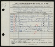 Entry card for David, Adeline Wilkens for the 1953 May Show.