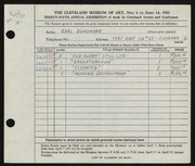 Entry card for Dunsmore, Earl Leroy for the 1953 May Show.