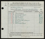 Entry card for Emery, Thomas Parlar for the 1953 May Show.