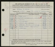 Entry card for Eppink, Norman Roland for the 1953 May Show.