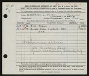 Entry card for Feiss, Gertrude Louise for the 1953 May Show.
