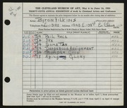Entry card for Filkins, Byron V. for the 1953 May Show.