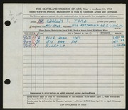 Entry card for Ford, Charles S. for the 1953 May Show.
