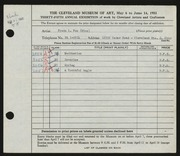 Entry card for Fox, Freda L. for the 1953 May Show.