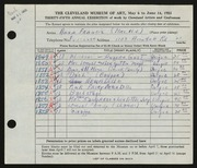 Entry card for Francis, Anna for the 1953 May Show.