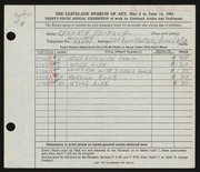 Entry card for Fritsch, Kenneth Harold for the 1953 May Show.