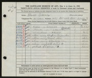 Entry card for Gabriel, Robert for the 1953 May Show.