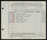 Entry card for Gaertner, Carl Frederick for the 1953 May Show.