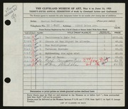 Entry card for Godlewski, Marion for the 1953 May Show.