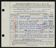 Entry card for Goff, Caroline Brewer, II for the 1953 May Show.