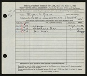 Entry card for Goslee, Marjorie Eileen Evans for the 1953 May Show.