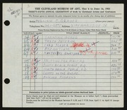 Entry card for Grauer, William C. for the 1953 May Show.