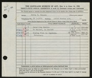 Entry card for Hansen, Jetta Evelyn for the 1953 May Show.
