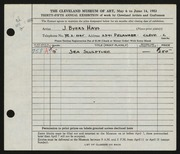 Entry card for Hays, J. Byers for the 1953 May Show.