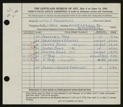 Entry card for Henderson, Buvetta F. for the 1953 May Show.