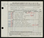 Entry card for Henning, Edward B. for the 1953 May Show.