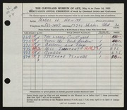 Entry card for Hewitt, Mabel H. for the 1953 May Show.
