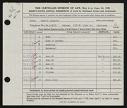 Entry card for Higgins, Jane R. for the 1953 May Show.