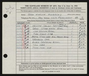 Entry card for Hlobeczy, Jean Winslow for the 1953 May Show.