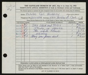 Entry card for Hlobeczy, Nicholas for the 1953 May Show.