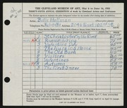 Entry card for Hoffman, Belle Mildred for the 1953 May Show.