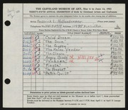 Entry card for Hollendonner, Frederick Lener for the 1953 May Show.