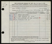 Entry card for House, James for the 1953 May Show.