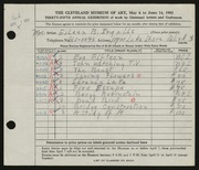 Entry card for Ingalls, Eileen B. for the 1953 May Show.