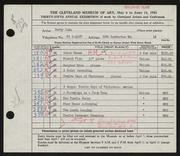 Entry card for John, Betty for the 1953 May Show.