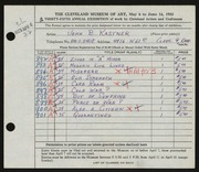 Entry card for Kastner, John B. for the 1953 May Show.