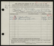 Entry card for Kavanagh, Jean for the 1953 May Show.