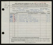 Entry card for King, John for the 1953 May Show.