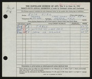 Entry card for King, Ruth for the 1953 May Show.