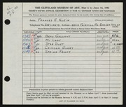 Entry card for Klein, Frances E. for the 1953 May Show.