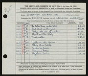 Entry card for Knapp, Stephen for the 1953 May Show.