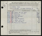 Entry card for Land, Jerome for the 1953 May Show.