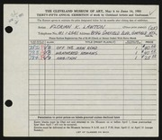Entry card for Lawton, Florian K. for the 1953 May Show.