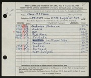 Entry card for McClean, Clara for the 1953 May Show.