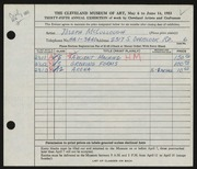 Entry card for McCullough, Joseph for the 1953 May Show.