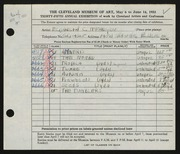Entry card for McFadyen, Elizabeth C. for the 1953 May Show.