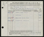 Entry card for McLelland, Ronalda for the 1953 May Show.