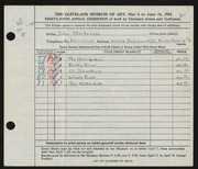 Entry card for MacKenzie, John D. for the 1953 May Show.