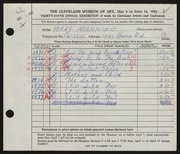Entry card for Manning, Wray for the 1953 May Show.