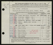 Entry card for Manzler, Lorna for the 1953 May Show.