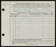 Entry card for Maringer, Carol for the 1953 May Show.