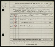 Entry card for Marsalko, William J., and Manning Studios, Inc. for the 1953 May Show.