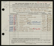 Entry card for Martin, William Barriss, II for the 1953 May Show.