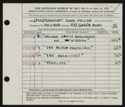 Entry card for Mellen, Margaret Riggs for the 1953 May Show.